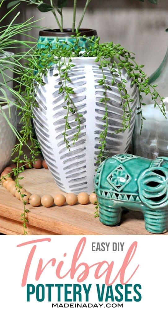 black white tribal vase, diy tribal vase