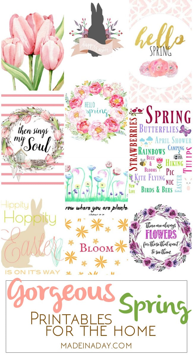 Gorgeous Spring Printable Art for the Home, add the freshness of Spring to your home decor with free printable art, peony, tulip, watercolor, bunnies, wreaths, flower printable art