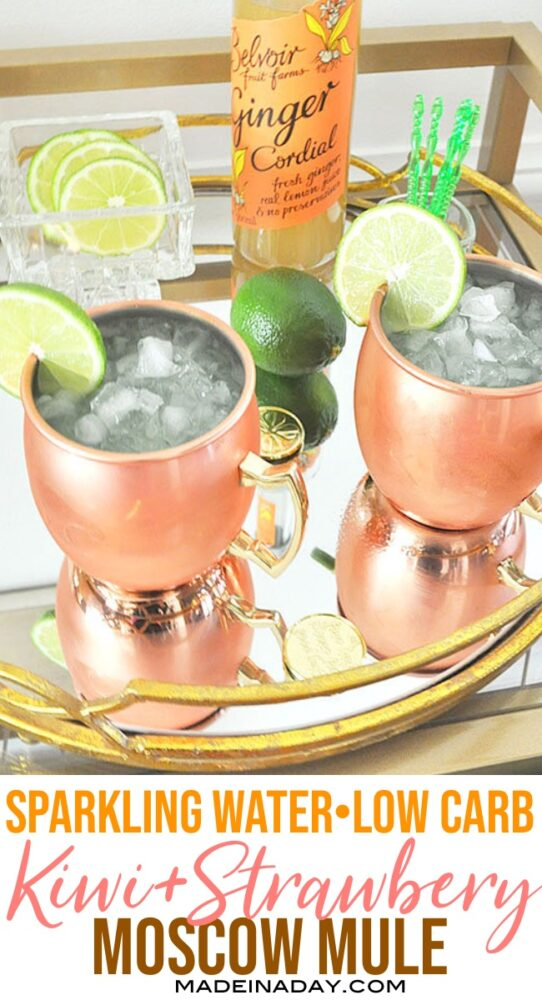 Low carb Moscow Mule, Keto Moscow Mule, Ginger Beer Moscow Mule