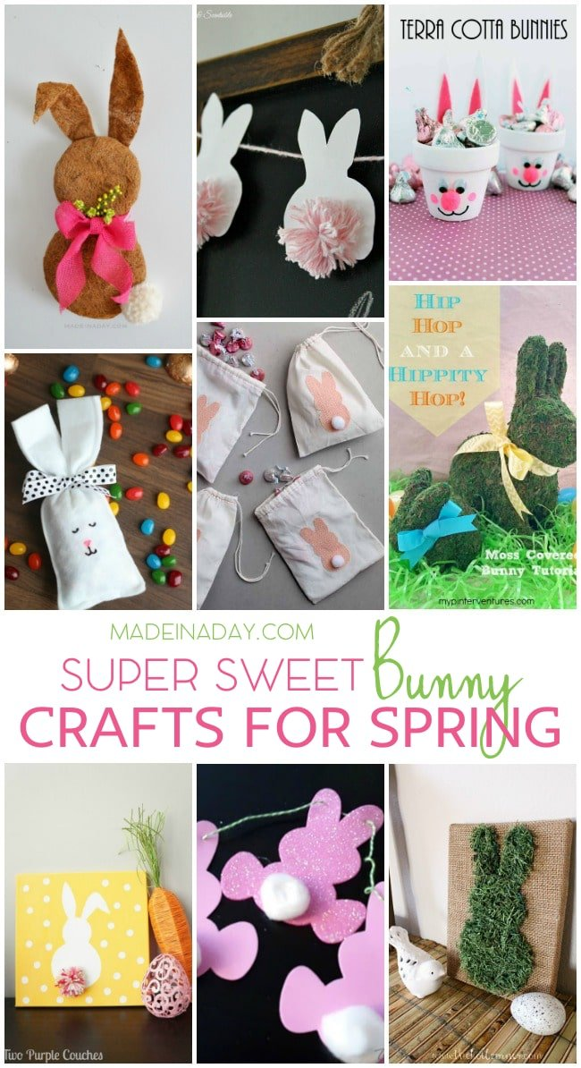 Easter Bunny Crafts for Spring Decor, Bunny wreaths, garlands, bunting, moss covered bunnies, Bunny canvas art, treat bags and more!