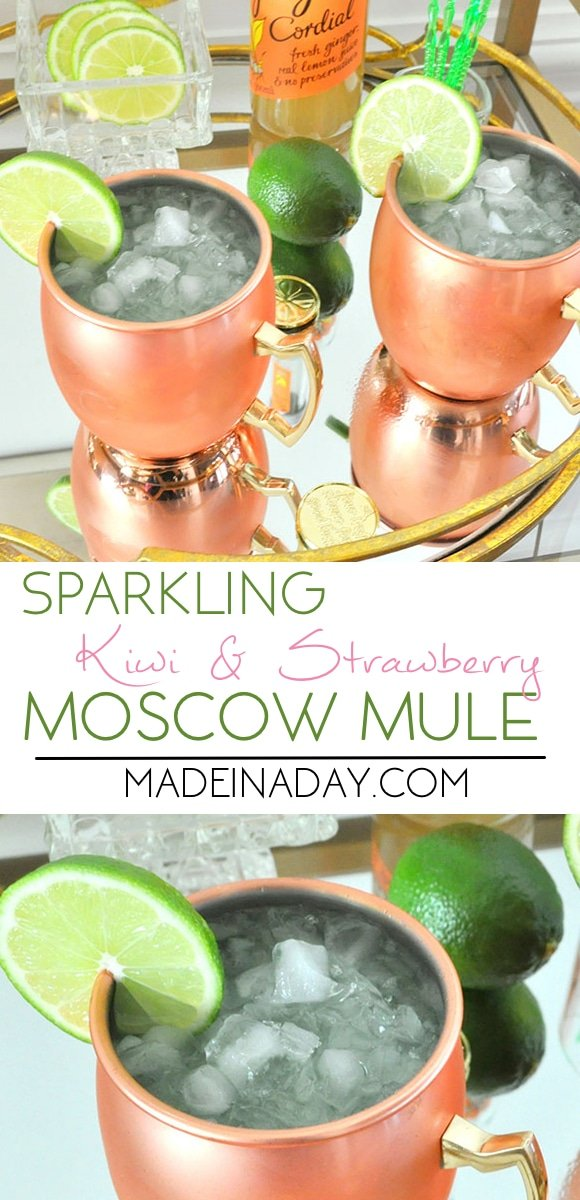 Sparkling Kiwi Strawberry Moscow Mule+ an Easy Lime Party Punch for the kids! Engravable Copper Mule mugs, vodka cocktail, St. Patricks Day Green Mule Drink #ad