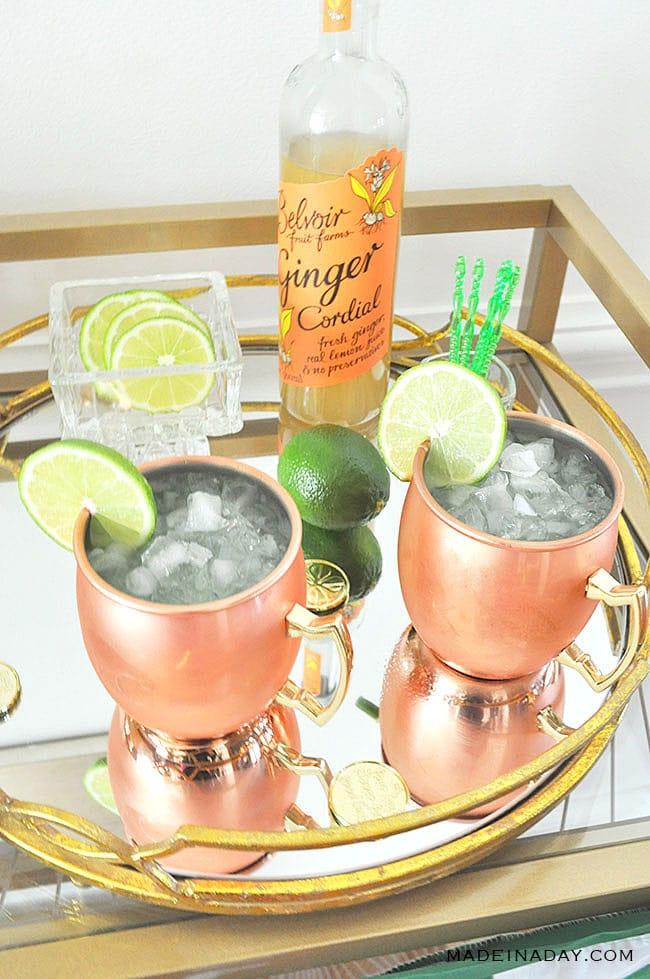Sparkling Kiwi Strawberry Moscow Mule, low carb cocktail,