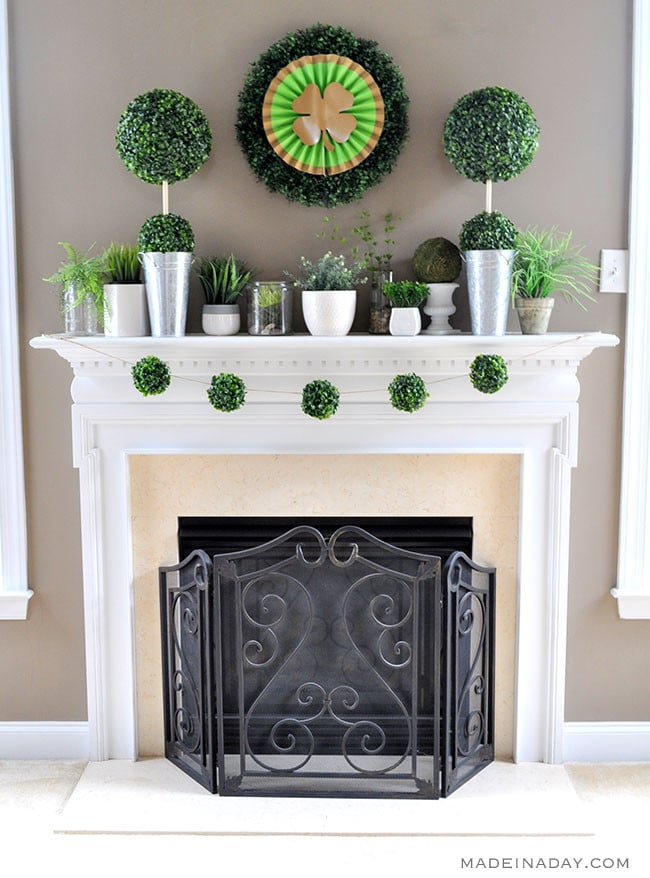 St Patrick's Day Boho Boxwood Mantle