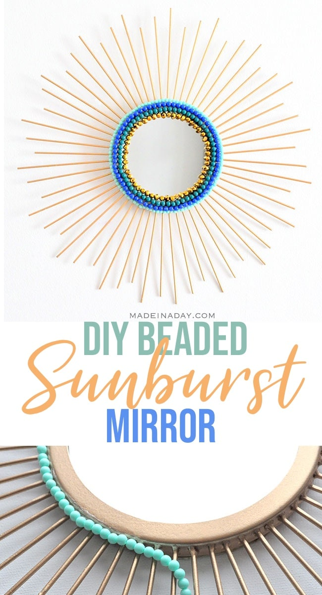 diy beaded sunburst mirror, gold sunburst mirror, beaded mirror