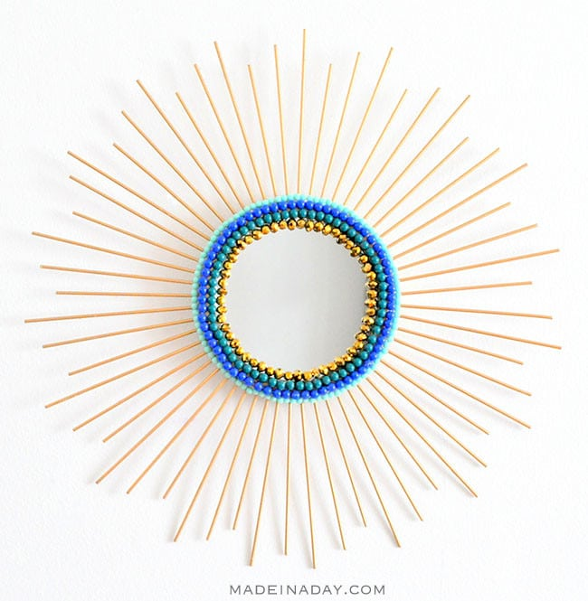 sunburst mirror with beads