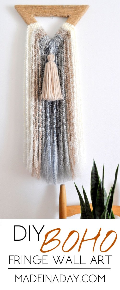 Boho Triangle Fringe Wall Art, Easy DIY Wall Hanging made from foam and ombre boucle yarn, bohemian fringe, ombre yarn #ombre #bohowallart #wallart