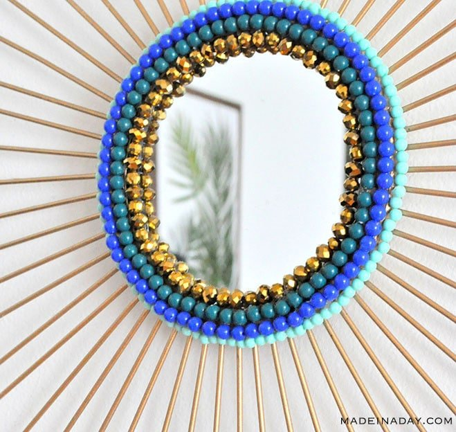 DIY Beaded Starburst Mirror