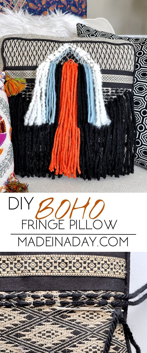 DIY Boho Fringe Throw Pillow 7