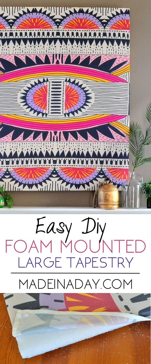 How to Mount a Tapestry for Wall Art, Mount a large tapestry with foam for large wall art. Large art. Pink Boho Wall Art #tapestrywallart #Tapestry #boho
