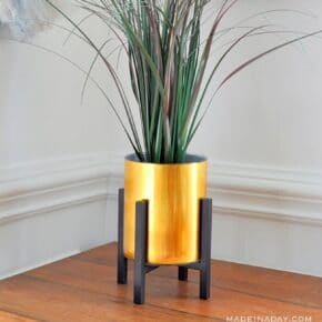 Faux Gold Metal Planter using Contact Paper 1