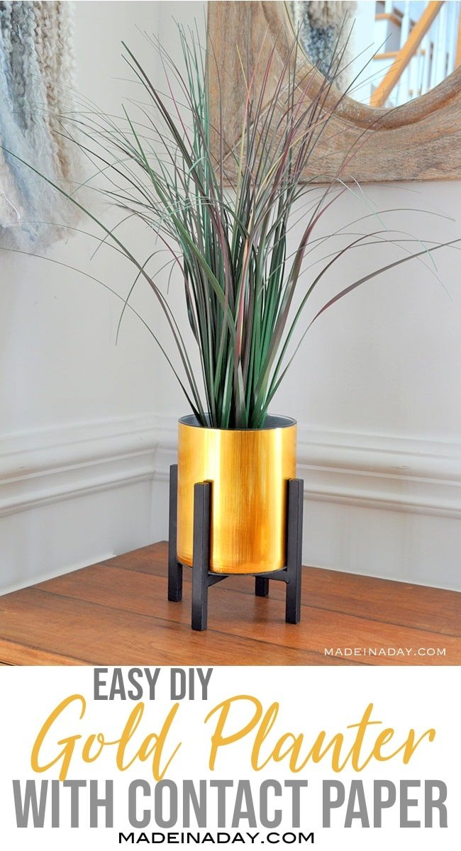 DIY metallic planter with contact paper