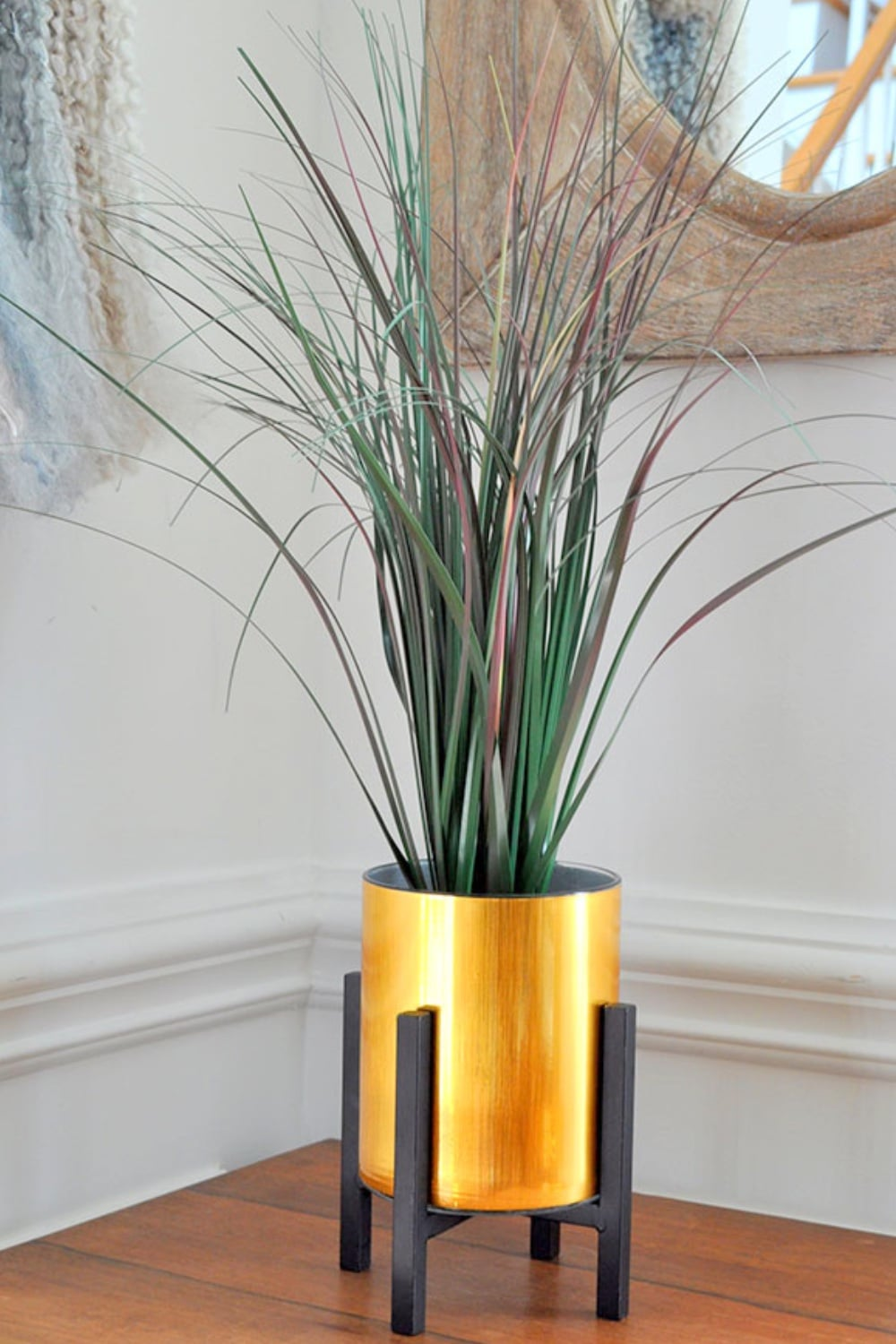 Faux Gold Metal Planter using Contact Paper