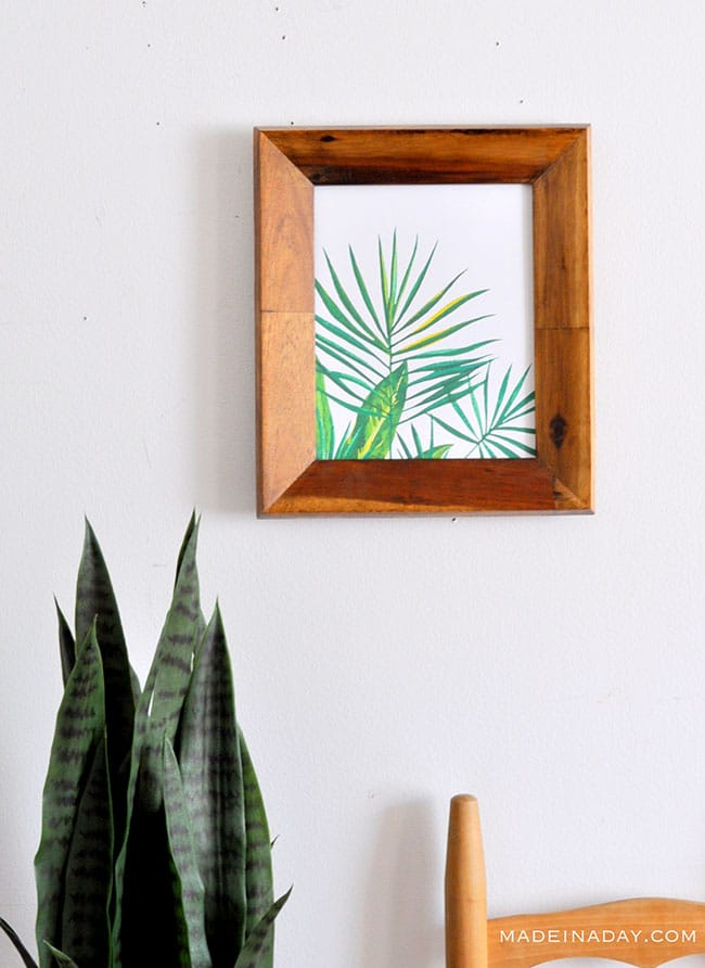 palm frond art prints, watercolor palm leaf wall art printables