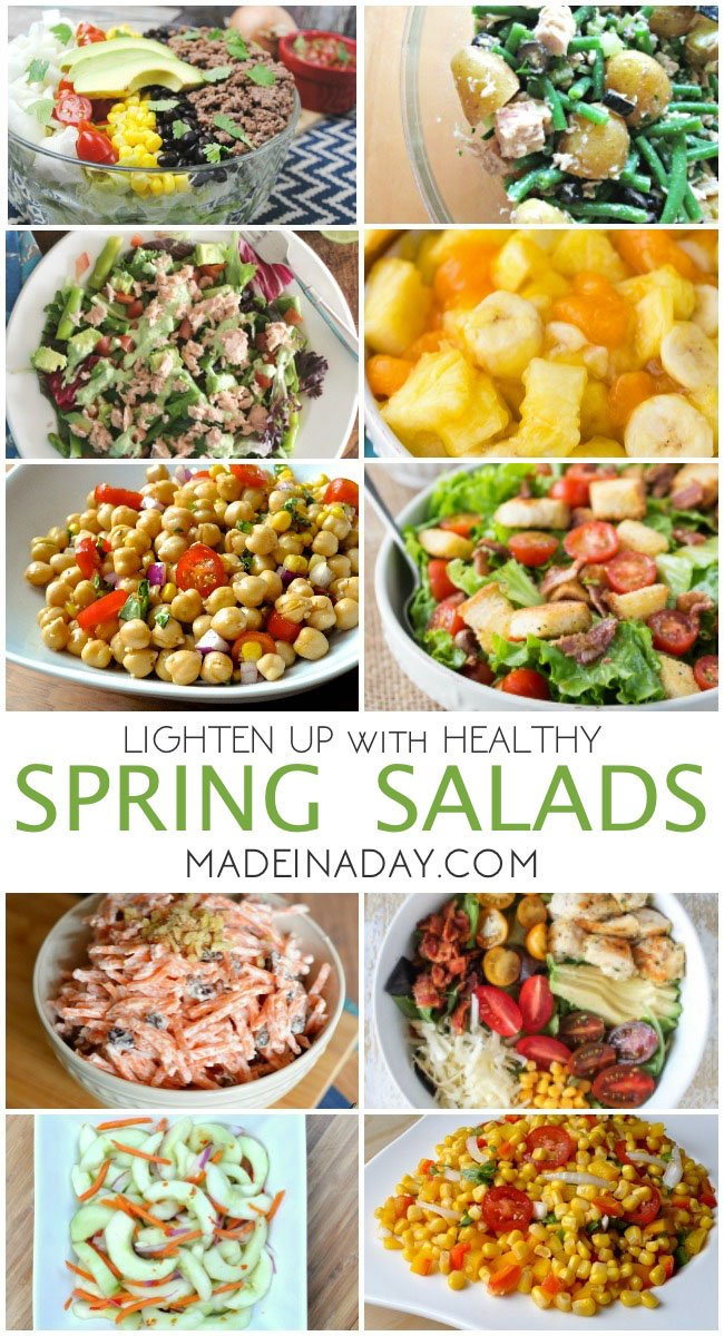 It's time to break out the grill! Spring salad recipes, BLT, corn salad, carrot salad, cobb salad, Thai cucumber, chickpea, Vidalia onion, homemade croutons