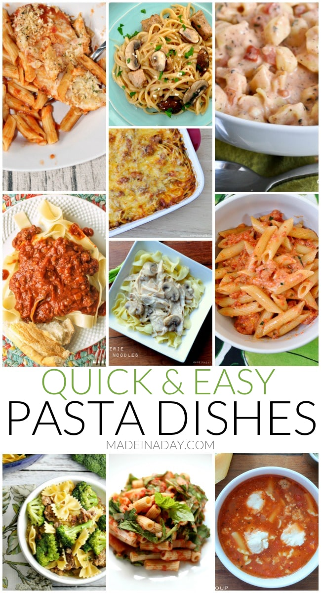 Quick & Easy Weeknight Pasta Dishes, penne pasta, chicken noodles, spaghetti, tortellini, slow cooker spaghetti sauce, broccoli, lasagna, egg noodles,