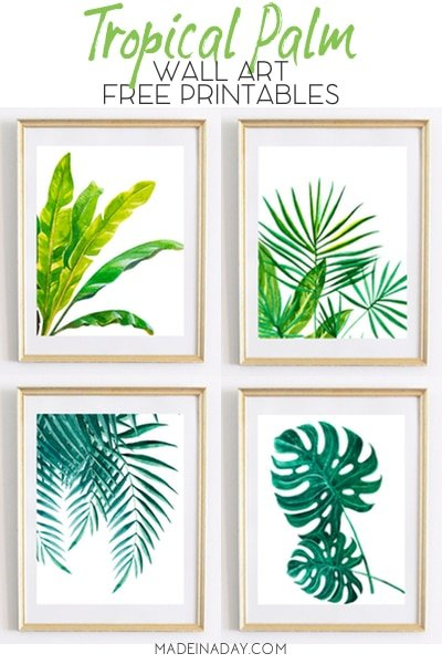 palm leaf printable wall art, monstera leaf printable, banana leaf printable