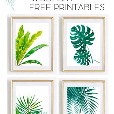 Tropical Palm Watercolor Wall Art Printables