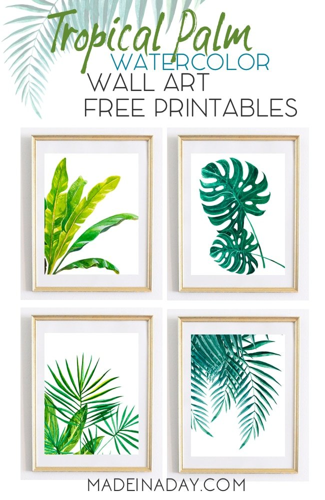 graphic regarding Free Printable Art identified as Interesting Tropical Palm Watercolor Wall Artwork Printables
