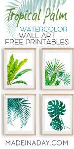 picture relating to Free Printable Artwork to Frame identified as Interesting Tropical Palm Watercolor Wall Artwork Printables
