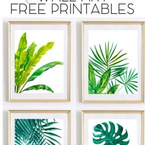 Beautiful Tropical Palm Watercolor Wall Art Printables 1