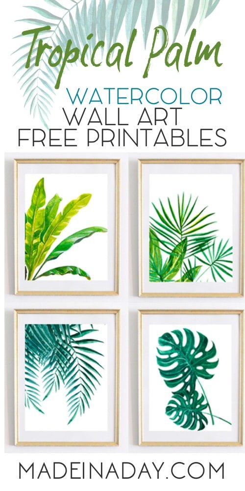 Watercolor Wall Art tropical palm watercolor wall art printables | made in a day