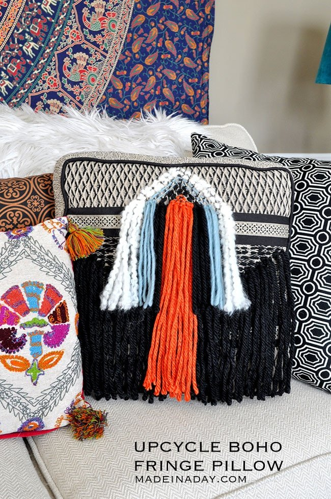 DIY Boho Fringe Throw Pillow