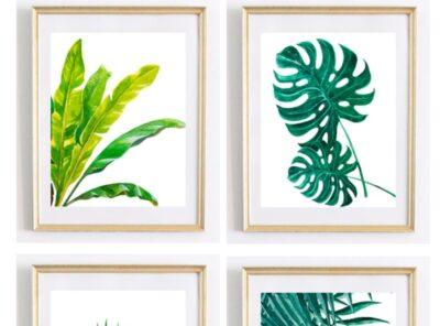 Beautiful Tropical Palm Watercolor Wall Art Printables