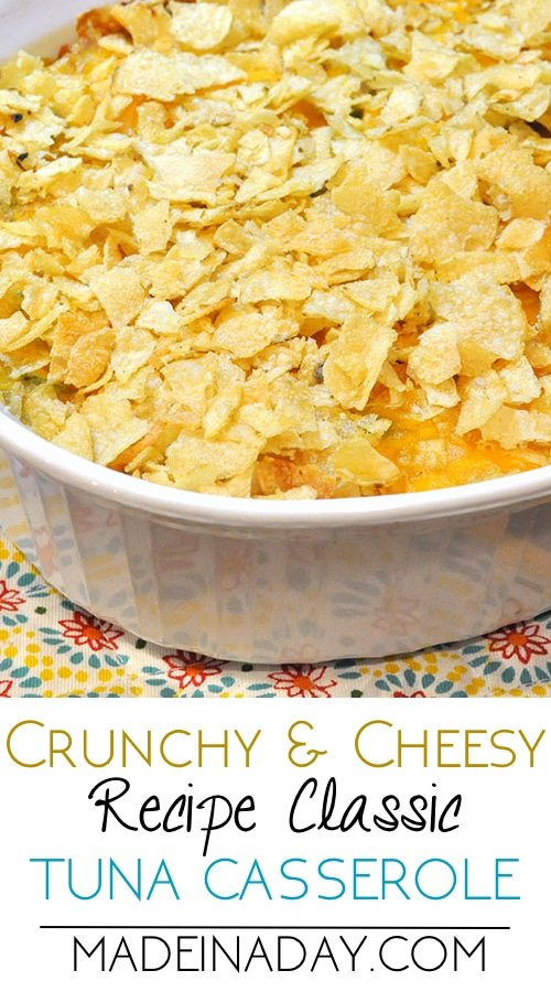 Cheesy Tuna Casserole with crushed Kettle chips & cheese! Tuna casserole is one if my families all time favorite dishes. I've added kettle chips and shredded cheddar cheese to perk up the flavors of this classic dish.