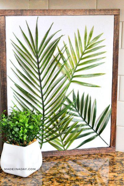 DIY Minimal Framed Palm Wall Art