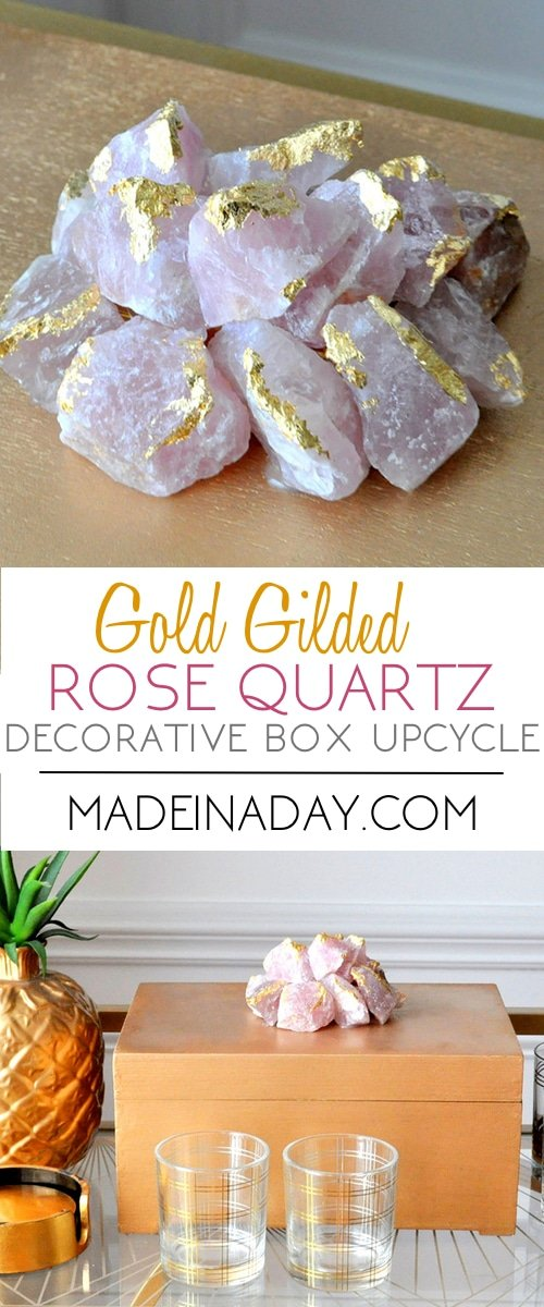 Gilded Rose Quartz Decorative Box Makeover, Makeover a thrift store box into beautiful Rose Quartz home decor, gold gilded quartz, rose quartz, semi-precious gem rose quartz, pink stone,
