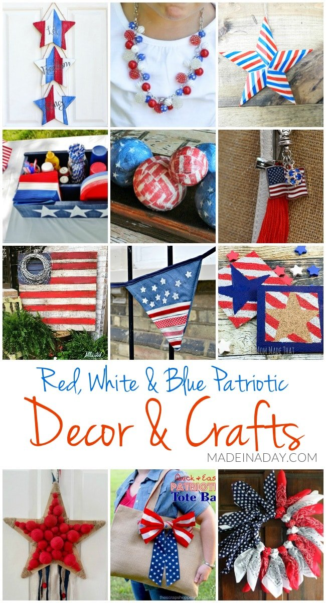 Patriotic DIY Decorations and Crafts, Cute party ideas, star door hanger, bandana wreath, denim garland, flag pallets, bauble necklace, pallet tray, washi tape stars & more~!