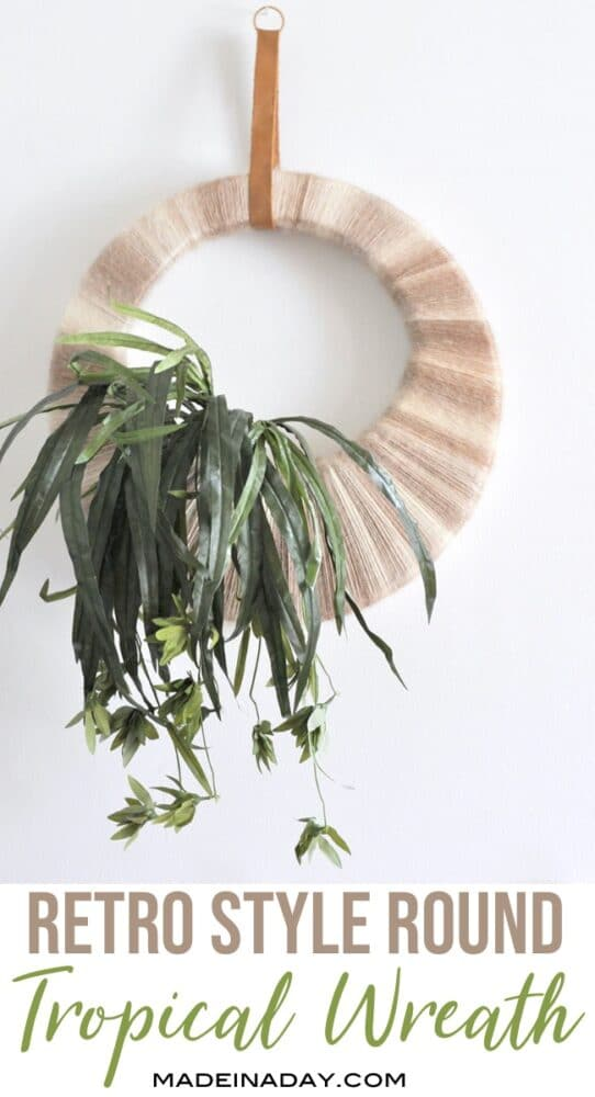 Vintage Inspired Boho Tropical Plant Wreath