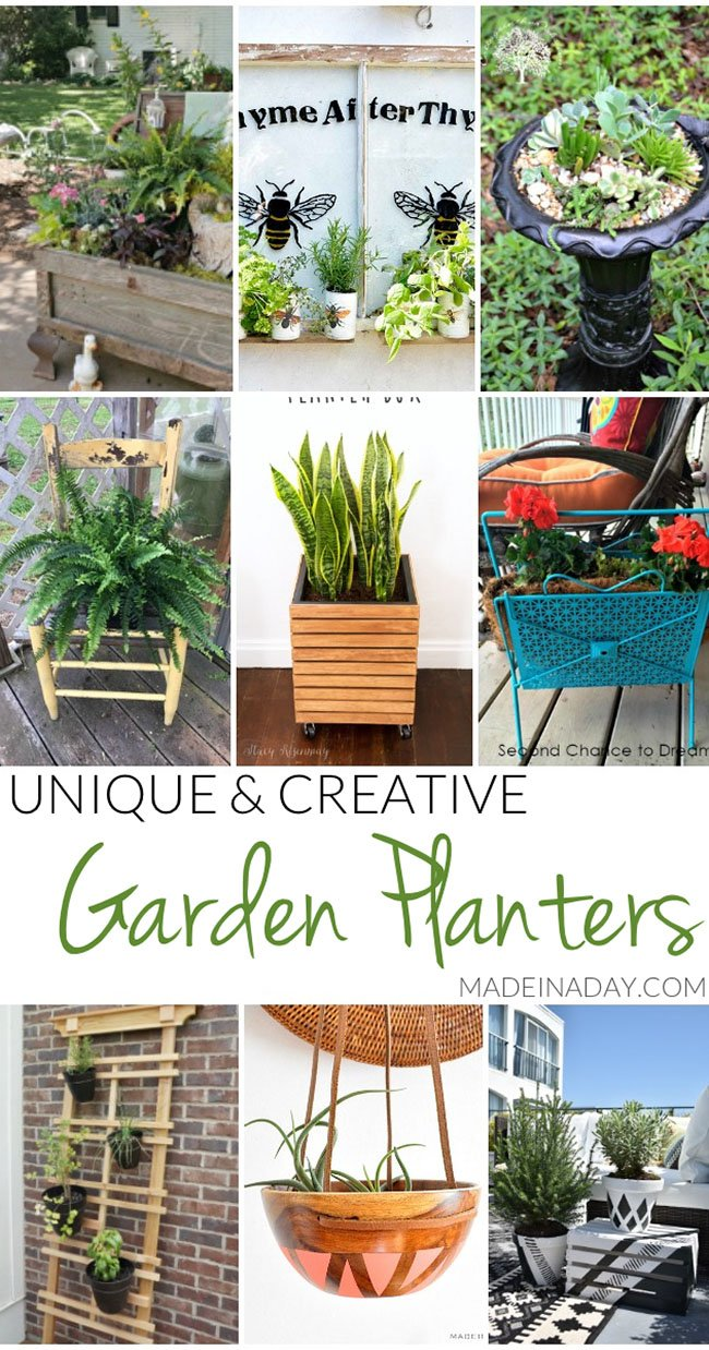 Unique Creative Garden Planter Ideas, wood bowl planter, painted planter, magazine rack, old trunk, modern planter, bird feeder, old window, antique chair..