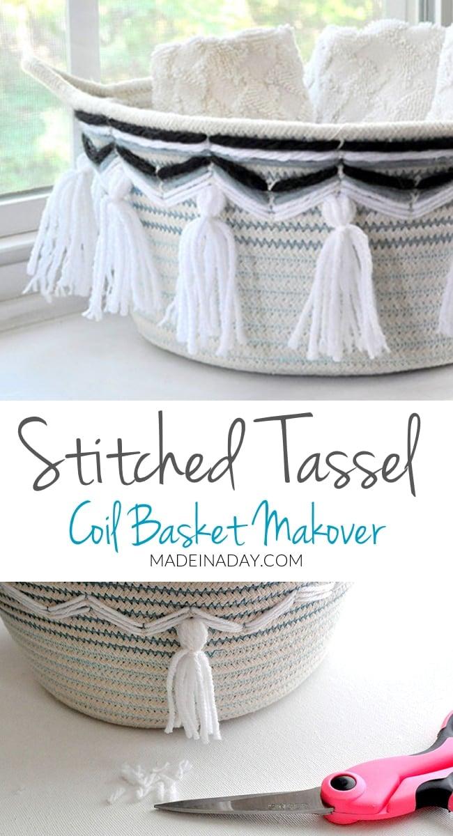 Stitch & Tassel Coil Basket Makeovers, yarn stitched basket, #tassel coil basket, Boho coil basket, #tasselbasket #bohobasket