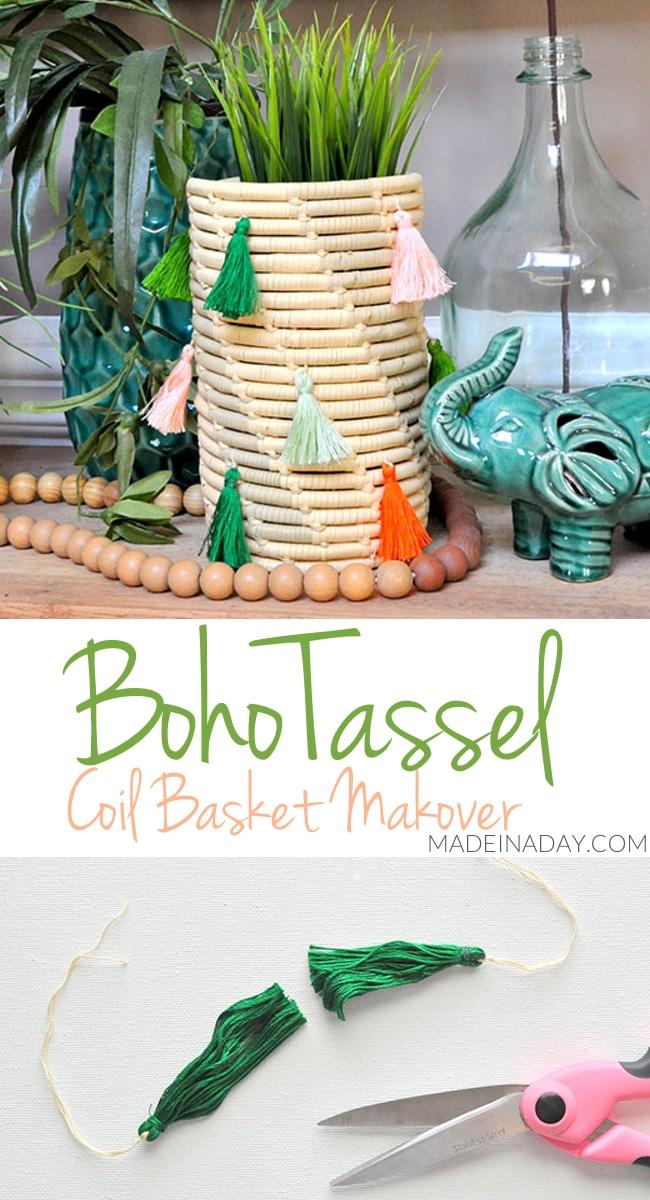 Stitch & Tassel Coil Basket Makeovers, yarn stitched basket, #tassel coil basket, Boho coil basket, tassel rope basket, #tasselbasket #bohobasket