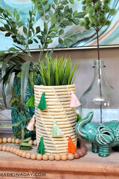 Stitched Tassel Coil Basket Makeovers