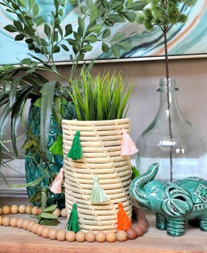 Stitched Tassel Coil Basket Makeovers 10