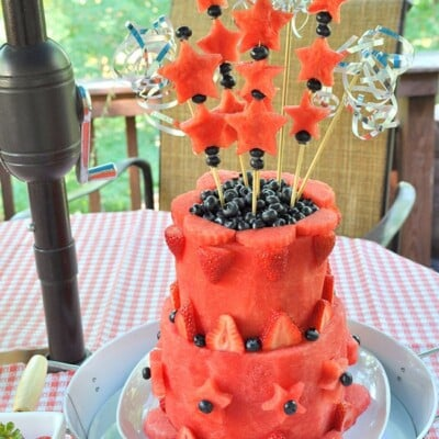 Learn to Make a Patriotic Watermelon Layer Cake #Sponsored