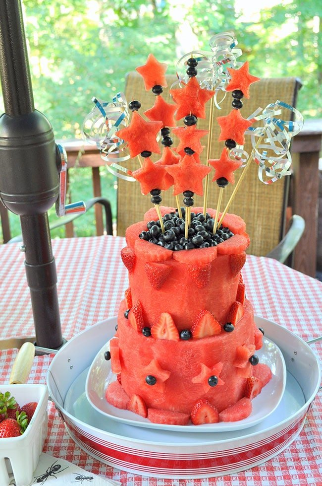 DIY Patriotic Watermelon Layer Cake
