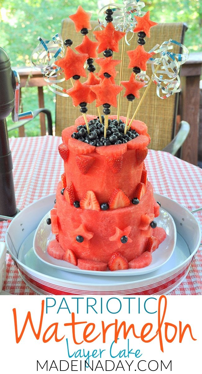 Easy DIY Watermelon Layer Cake Tutorial sure to wow at your next BBQ #sponsored Fruit cake, patriotic watermelon cake, carved watermelon cake, silver cake topper, star cut out cake topper, fresh fruit cake