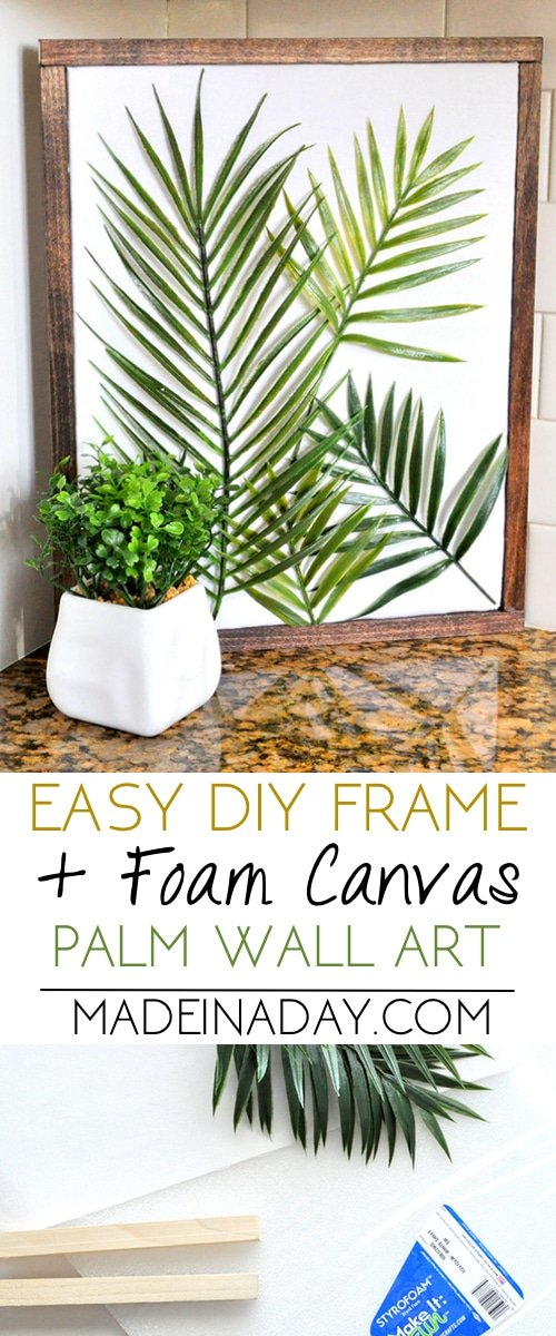 Use foam and square dowels to create this easy minimal palm wall art. 3 dimensional palm art, palm frond wall art, palm stems wall art, tropical wall art, #tropicalwallart #plamfrond #tropical