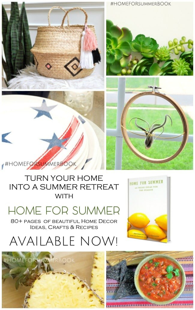 Home for Summer Ebook Launch! DIY Projects and Recipes to make your summertime fabulous! 90 pages of sensational tutorials by a group of talented bloggers. Large yard tic tack toe, salsa, patriotic decor & more!