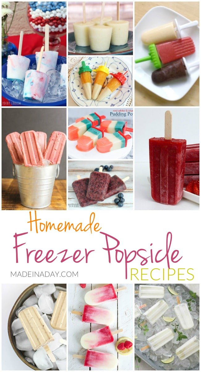 Cool Homemade Freezer Popsicle Recipes,Who doesn't love a good popsicle recipe? Blueberry, Strawberry, Raspberry, yogurt, carrot, Mojito, peanut butter, banana, coconut, Skittles and more!