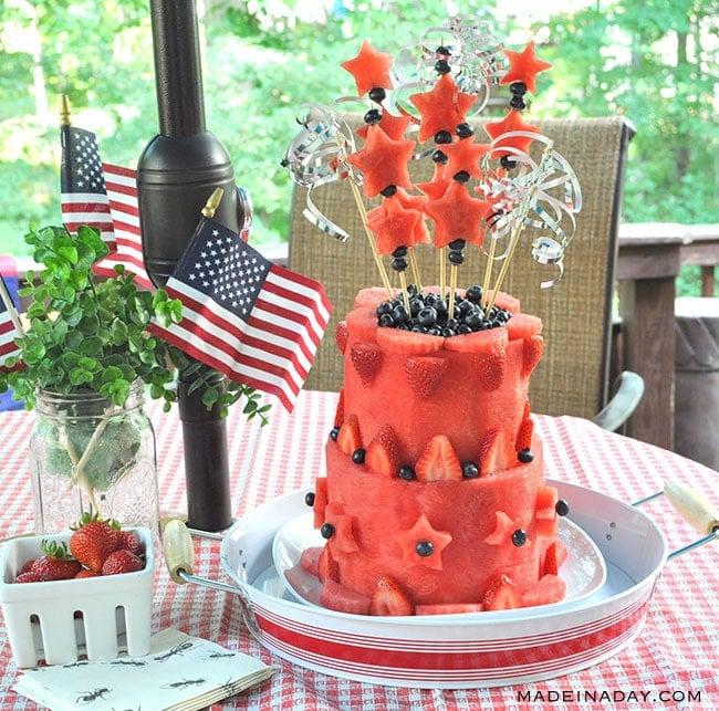 carve a watermelon into a cake