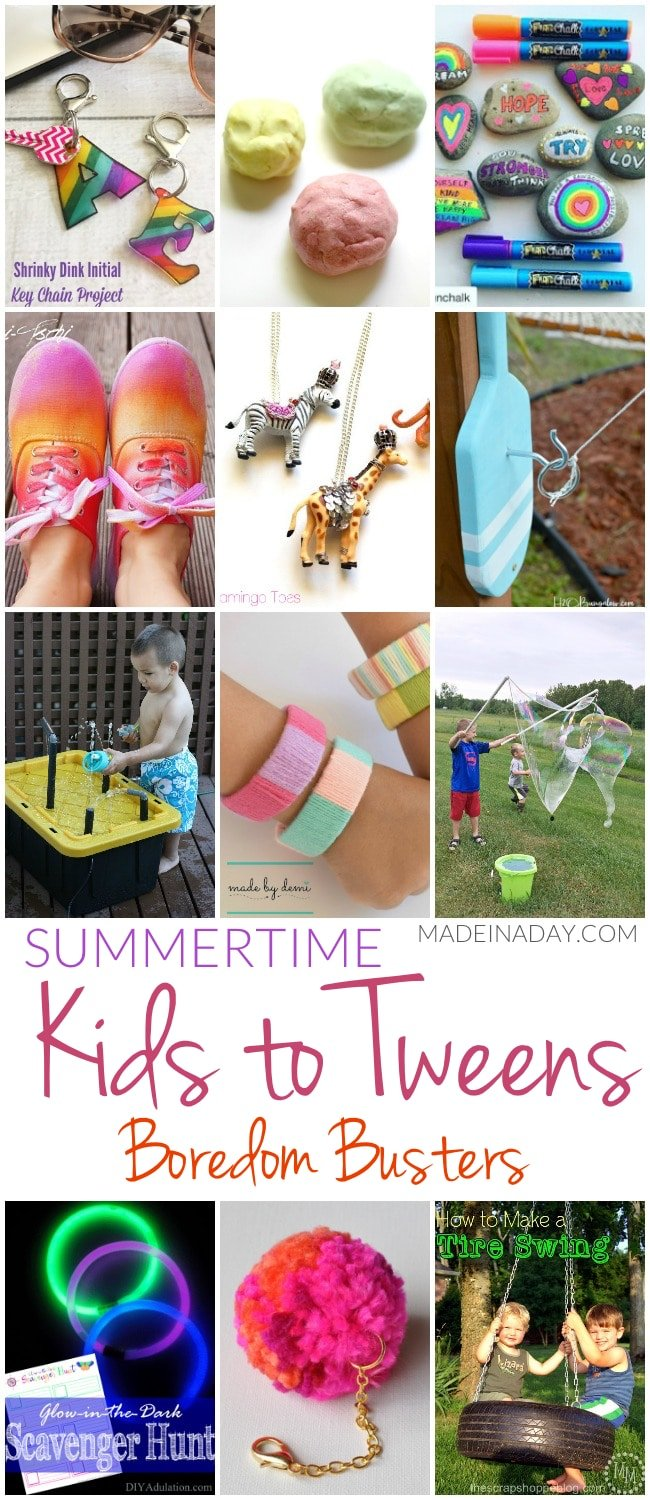Summertime Kids to Tweens Boredom Busters,12 crafts & activities sure to keep the kids busy this summer! Tire swing, painted shoes, play-doh, rock painting, glow in the dark scavenger hunt, shrinky dinks, giant bubble recipe, popsicle bracelets and more!