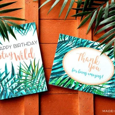 Tropical Palm Birthday and Thank You Card Printables