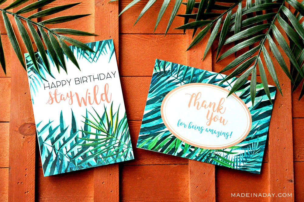 palm Leaf birthday card printable, palm leaf thank you card printable, stay wild birthday card, boho birthday card, boho thank you card,