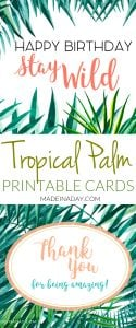 Tropical Palm Birthday and Thank You Card Printables 1