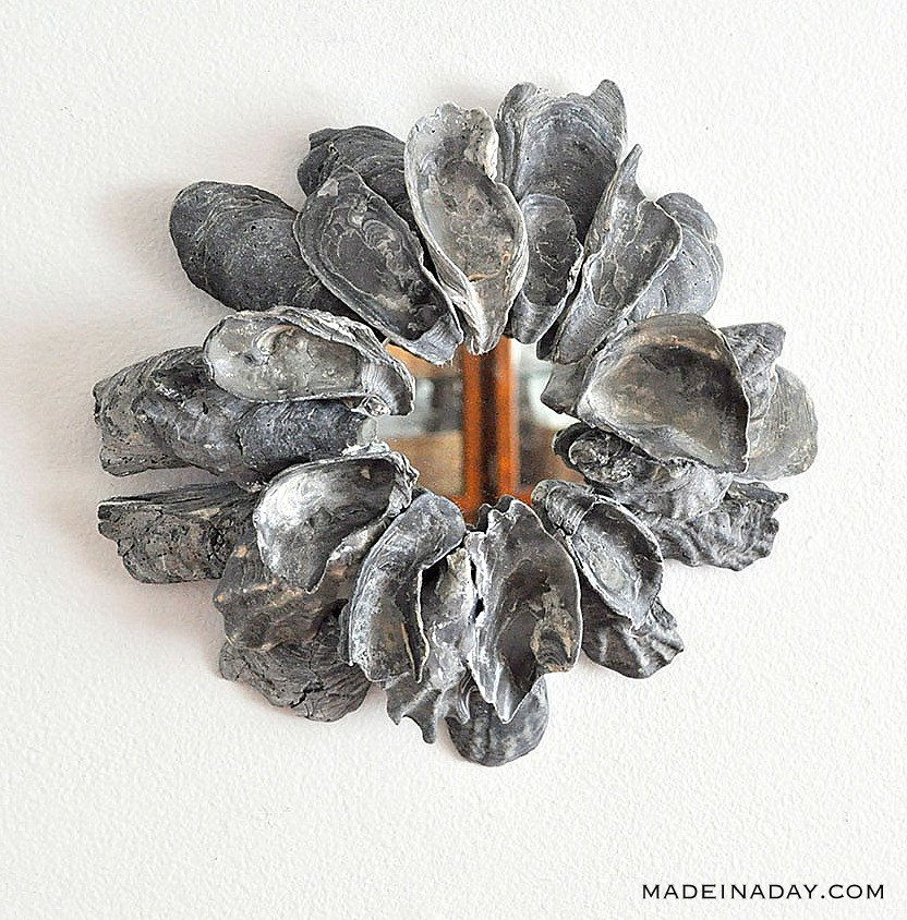 how to make a oyster shell mirror, black oyster shell mirror