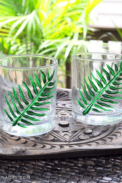 Hand Painted Tropical Palm Cocktail Glasses